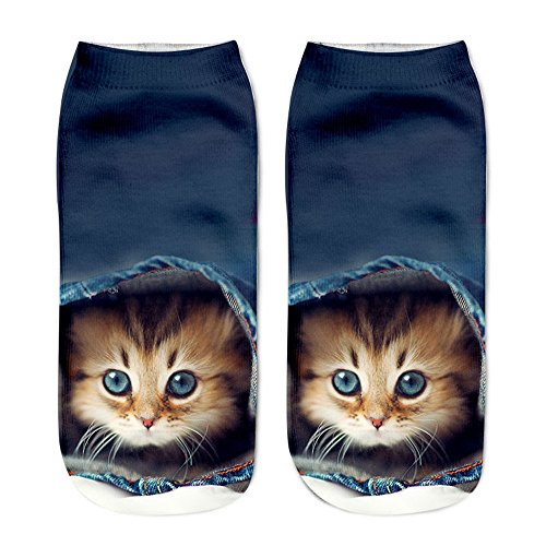 VECDY Socken, Cyber Monday SpecialsMädchen Weihnachten lustige Unisex Kurze Socken 3D Katze gedruckt Fußkettchen Socken Casual Socken -