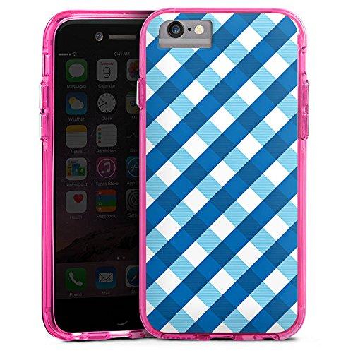 Apple iPhone 7 Bumper Hülle Bumper Case Glitzer Hülle Karo Blau Blue Bumper Case transparent pink