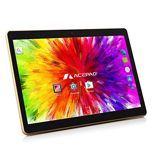 ACEPAD A96 10 Zoll (9.6″) Tablet PC 3G (Dual-SIM) 48GB Android 7.0 Nougat IPS HD 1280×800 Quad Core WIFI WLAN USB SD (Schwarz)