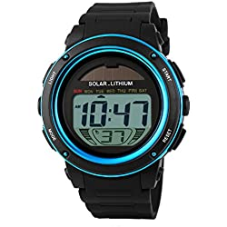Men Lady Watch - Skmei Solar Powered Digital Men Lady Waterproof Rubber Sports Wrist Watch Blue