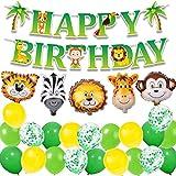 MAKFORT Kindergeburtstag Deko Happy Birthday Girlande und lustig Tier Folienballons Konfetti Luftballons Grün für Kindergarten Dekoration Urwald Party Geburtstag Mädchen Junge