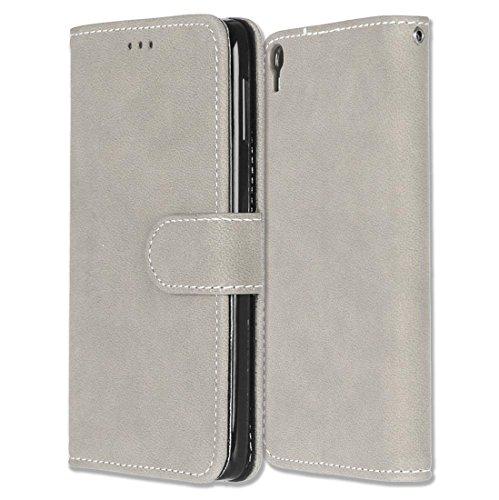 Alcatel One Touch Idol 3 (5.5) Hülle, Chreey Matt Leder Tasche Retro Handyhülle Magnet Flip Case mit Kartenfach Geldbörse Schutzhülle Etui [Beige]