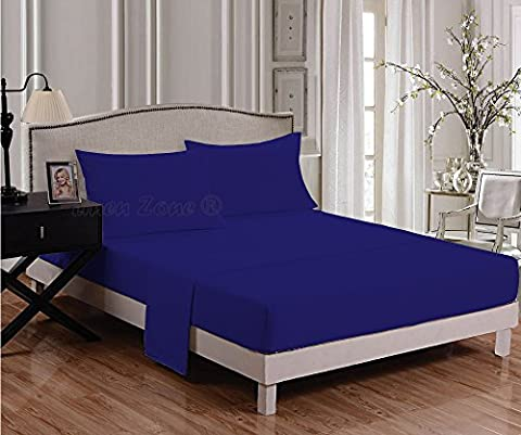 Linen Zone Flat Bed Sheet Percale Quality Easy Care All Sizes (King, Royal Blue)