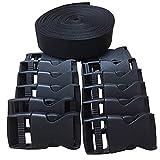REKYO Nylon heavy webbing strap and Double side release buckles clips (Webbing+Buckles)