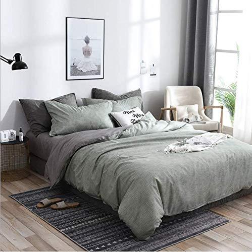 SHJIA Tröster Bettwäsche-Sets Königin Bettbezug-Set Blumenbeet Feinstfaser-Set grün 200x230cm -