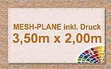 Bauzaun | Mesh Banner / Werbeplane / Werbebanner | 3,5m x 2m | inklusive Saum und Ösen | brillanter Druck - besonders stabil - wetterfest | 270g/m² | luftdurchlässig | einseitig mit Ihrem Motiv bedruckt