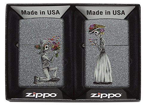 Zippo 60.002.305 Feuerzeug Day of Dead Skulls Set Collection Spring 2016, Iron Stone