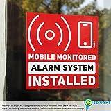 MOBILE Monitored Alarm System Installed 10 Aufkleber Sticker 52 x 52 mm rot mit Warnsymbol für 24 h rund-um-die-Uhr Überwachungssystem für Haus, Wohnung Geschäft, Garage von secur me, Karten-lilly