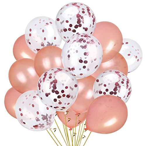 fetti Luftballons Pack von 30 Rose Gold Balloons & Konfetti Ballons Set Premium Qualität Ballons für Hochzeit, Bridal Shower, Geburtstagsfeier, Partydekorationen ()