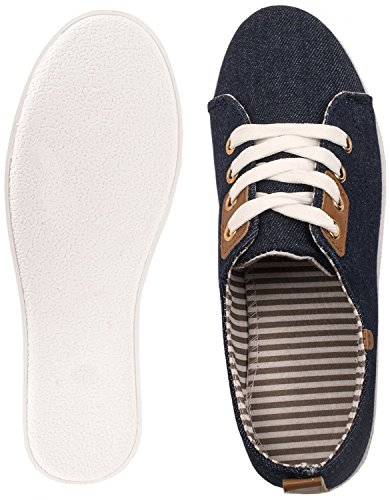 Elara Basic Sneakers | Sportlich Bequeme Turnschuhe | Low Schnürer Dunkelblau London