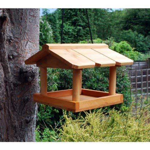 Mangiatoia sospesa per uccellini selvatici in legno