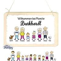 Missromps Türschild Familie aus Birkenholz massiv Verschiedene Ausführungen Familienschild Holzschild Wohnungsschild 012