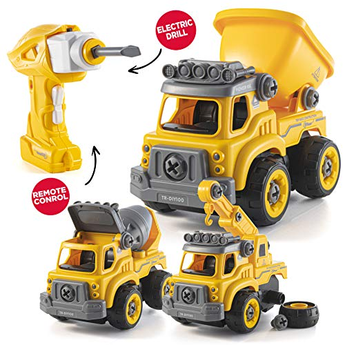 Top Race Rc Bauspielzeug mit Bohrmaschine zerlegen | Umrüstung auf EIN ferngesteuertes Auto | Geschenk für Jungen ab 3,4,5,6,7 Jahren | Kinderauto Spielzeug | Stem Construction Trucks 3 in einem