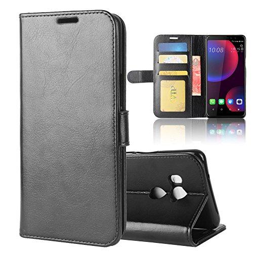 HTC U11 Eyes Brieftasche Hülle,Stilvoller Handyhülle Fall GOGME[Geldbörse Hülle Serie] In einer multifunktionalen Retro-Stil Schutzhülle,Einschubfächer für Karten,Magnetische Verschluss,Flip Bracket Funktion Senior PU-Leder Brieftasche Telefon-Kasten.(schwarz) (Htc-handy-fall-geldbörse)