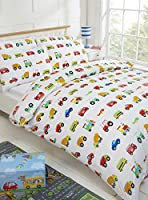 100% Cotton Kids Duvet Cover 200 Thread Count Cars Traffic Planes Trucks Trains