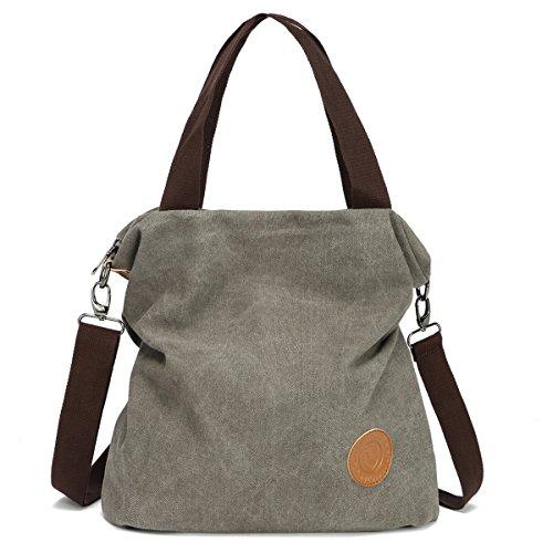 Hozee Canvas Handbag shoulder Bag Women-Vintage Hobo Top Handle Shopping Crossbody Bag Tote Casual Beach multifunction Bags for Ladies Women(Gray)