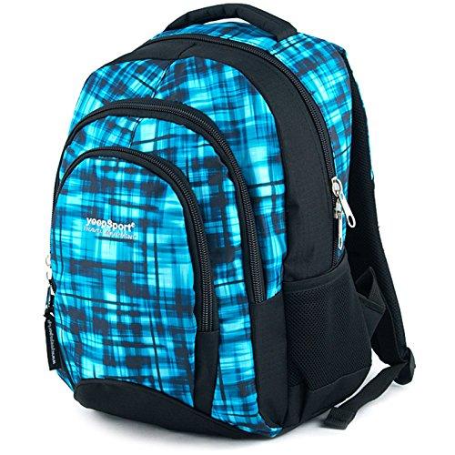 Schul Ranzen Rucksack Kinder Jungen Mädchen 30L Groß Leicht Ergonomisch Stabil, Farbe:Blue Matrix