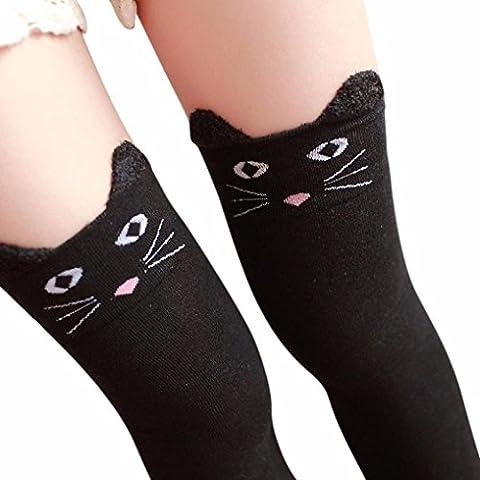 Longra® Women CUTE Cat Bear * Cartoon Knit Over Knee ! High Socks Easy Match (Black)