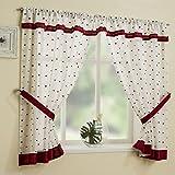 Red Square Pattern Kitchen Bathroom Window Curtain Net Set 106