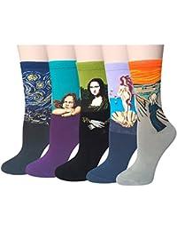 Pack de 4/5 Mujer Calcetines Ocasionales Divertidos Impresos de Algodón de Pintura Famosa de Arte Calcetines