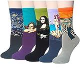 Pack de 5 Mujer Calcetines Ocasionales Divertidos Impresos de Algodón de Pintura Famosa de Arte Calcetines