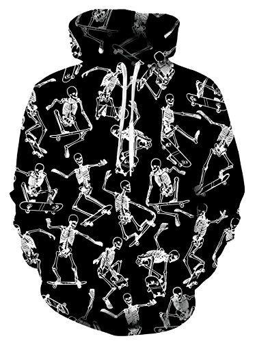 Kostüm Jungen Für Teen - ALISISTER Unisex Hoodies Kapuzenpullover 3D Verrückt Skelett Bedruckt Hooded Pullover Sweatshirt Teen Mädchen Jungen Langarm Halloween Kostüme Kapuzenpullis M