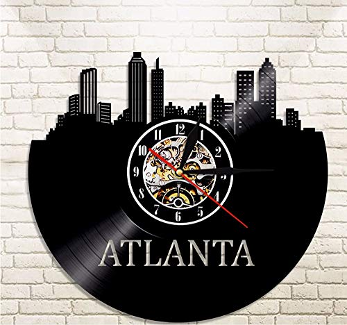 sa Stadt Atlanta Skyline Vinyl Uhr Stadtbild Vinyl Record Wanduhr Georgia Skyline Silhouette Wandkunst Reise Geschenk ()