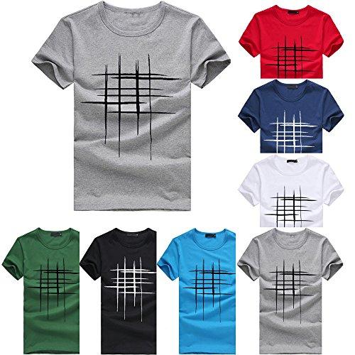 VJGOAL Herren T Shirt Slim Fit Große Größen Kurzarm Blouse Freizeit Einfarbig Brief Linie Drucken Klassisch Men Top S-3XL