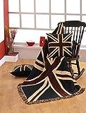 Homescapes handgewobener Überwurf Britische Flagge Union Jack 125 x 150 cm 100% reine Baumwolle – United Kingdom Jacquard Sofaüberwurf Sesselüberwurf Decke mit Fransen