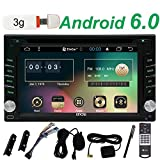 Gratuit 3G Dongle Inclure 6.2inch Android 6.0 Marshmallow St¨¦r¨¦os Quad-core 1,6GHz ¨¦cran HD Multi-touch Lecteur DVD voiture Dash Doulbe 2DIN Radio Auto support GPS Bluetooth Navigation Wifi USB Aux SD Mirror Lien