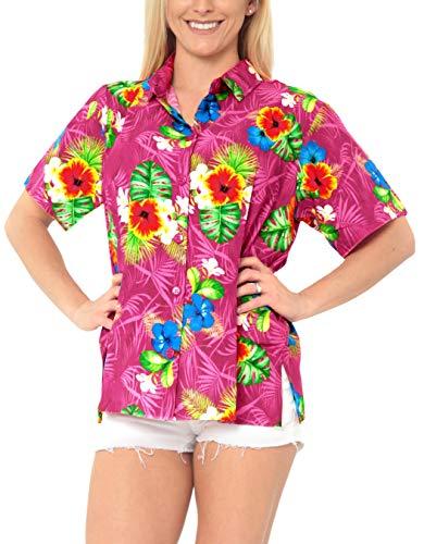 LA LEELA entspannt Hawaiihemd Urlaub Blusen zuknöpfen Frauen mit kurzen Ärmeln Rosa l