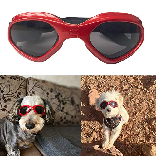 SHUIBIAN Hundebrille Fashion Haustier Hund Sonnenbrille Eye Wear Hund Wasserdicht Schutz UV Sonnenbrille Schutzbrille für kleine Mittelhunde (red)