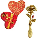 Sky Trends Heart Red Gold Rose Artificial Flower 24K Gold with Loving Box Best Valentine Day Gifts Rose Day Gifts Wedding Anniversary Rose Gift, Golden Rose set01