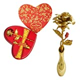 Sky Trends Red Gold Rose Artificial Flower 24K gold With Loving Box Carry Bag,Gold