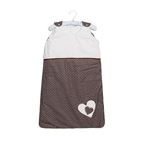 Sevira Kids - Gigoteuse légère d'été - 100% coton certifié - Tog 1 HEARTS Marron (Re Sacco A Pelo)