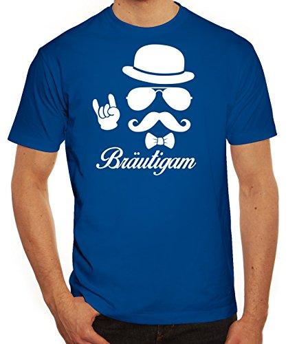 Junggesellenabschied JGA Herren Männer T-Shirt Rundhals Sunglasses Bräutigam Kombi, Größe: 3XL,Royal Blau