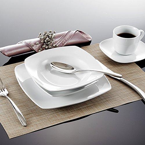 MALACASA, Serie Julia, KLEIN Tafelservice 60-TLG Kombiservice Kaffeeservice Porzellan Geschirrset mit Kaffeetassen, Untertassen, Dessertteller, Suppenteller, Speiseteller für 12 Personen je 12 Stück