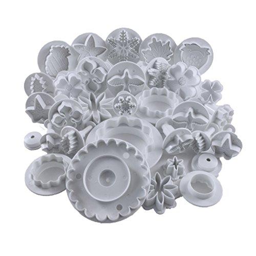 Premium 32-tlg. Kolben-Keksausstecher Set von Kurtzy - verschiedene Ausführungen - perfekte Dekoration für Kuchen, Zuckerkreationen, Fondant und Glasur – auch für den professionellen Einsatz