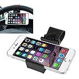 Supporto di fissaggio al volante per auto universale per telefono portatile, Iphone 4s/5/5s/5c/6 Htc One M7/M8/Samsung Galaxy S4/S5/S6/S6 Edge Lg G3 Nokia Lumia 928/1020, colore: nero, larghezza: 5-7,5 Cm
