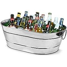 Acero galvanizado de fiesta Oval Taburete de tamaño grande para un servicio de bebidas rústico