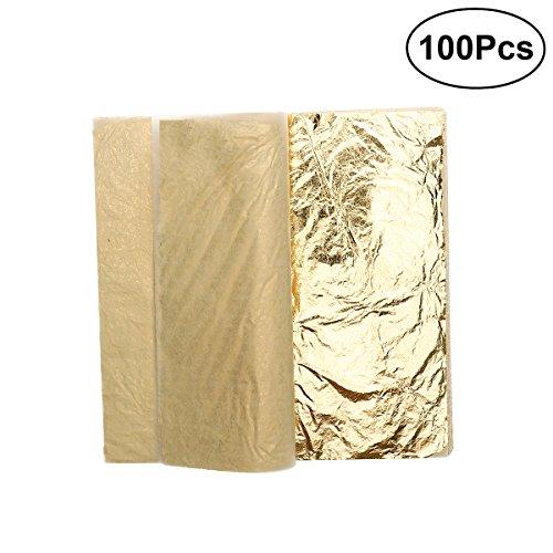 ROSENICE 100 Blätter Imitation Blattgold 5,5 Zoll für Kunst Handwerk Dekoration