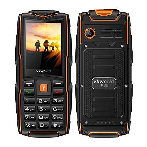 OverDose Vkworld Stone New V3 Handy (2017 Version) Outdoor,2,4 Zoll Display,IP68 Wasserdicht,Staubwiderstand,Zerbrechen Widerstand,(Großer Knopf, Tri sim,Power Bank Port, 2.0MP kamera,Verlängern auf 8GB Speicher) Ohne Vertrag (Orange)