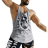 Men Gym Bodybuilding Tank Top Stringer Vest Fitness Workout Sportswear Cotton
