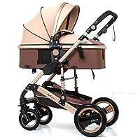 Infant Stroller High Landscape Fold Baby Stroller with Rubber Wheel Good Shock absorption Baby Pram, Belecoo, Khaki
