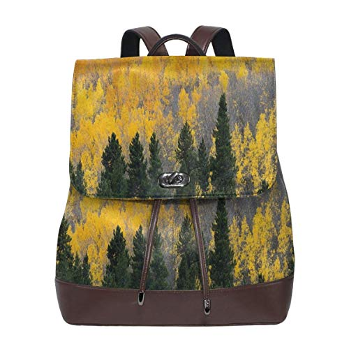 Women's Leather Backpack,Colorful Aspen Forest In Colorado Rocky Mountains Western Wilderness USA Theme,School Travel Girls Ladies Rucksack -