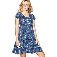 be44929846 Mantaray Womens Navy Floral Print Cotton Short Sleeve Mini Skater Dress