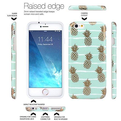 iPhone 6 Hülle, iPhone 6S Hülle, JIAXIUFEN Shiny Rose Gold Gray Marmor Design Soft TPU Silikon Schutz Handy Hülle Handytasche HandyHülle Case Cover Tasche Schutzhülle für iPhone 6 Shiny Pineapple Baby Mint