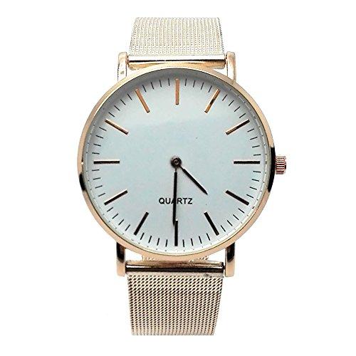MYB Armbanduhr Quarz für Herren und Damen aus Metall – Armband Armband aus Metall – Zifferblatt in Glas – verschiedene Farben (Gold (weißes Zifferblatt))