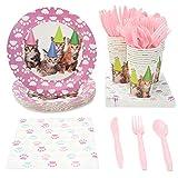 Juvale Einweg Geschirr Set-Dient 24-Inklusive Kunststoff Messer, Löffel, Gabeln, Pappteller, Servietten, Tassen, schwarz, weiß Katze