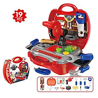 Asdomo Kids Toy Tool Set and Power Play Tools, 19 Pieces Construction Toys Workbench Toddler Tool Box Set Workshop Pretend Role Play Set with a Sturdy Case Gifts for Children Boys and Girls